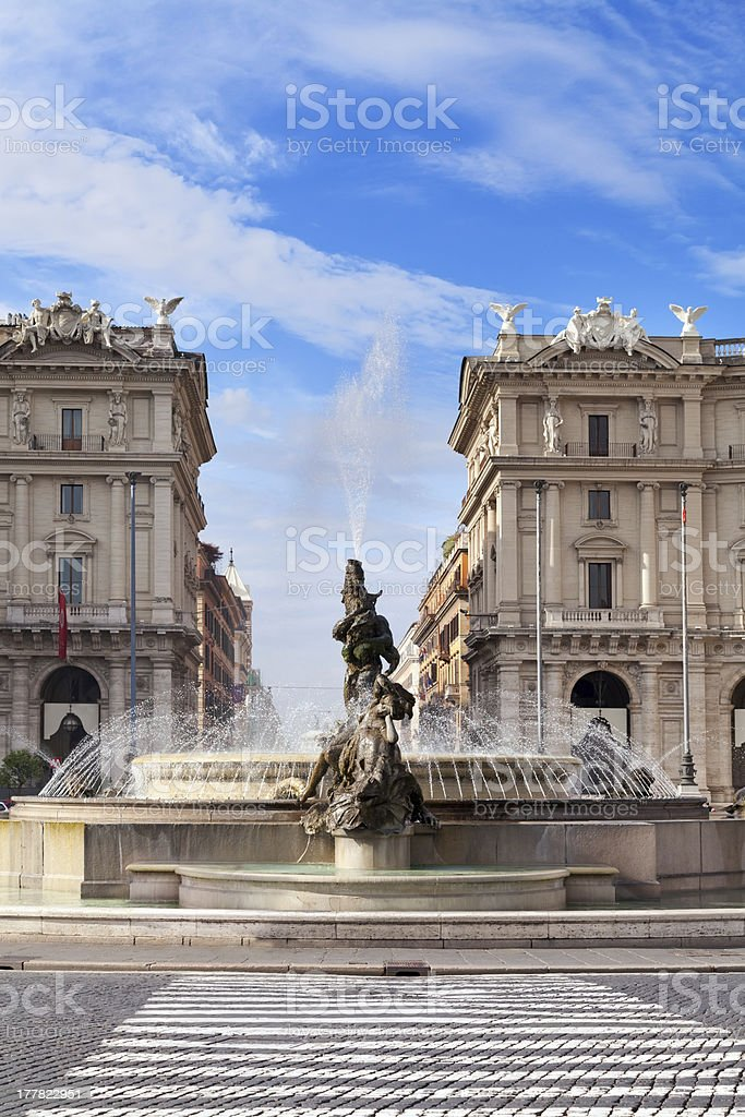 City square with fountain in the Rome royalty-free stock photo