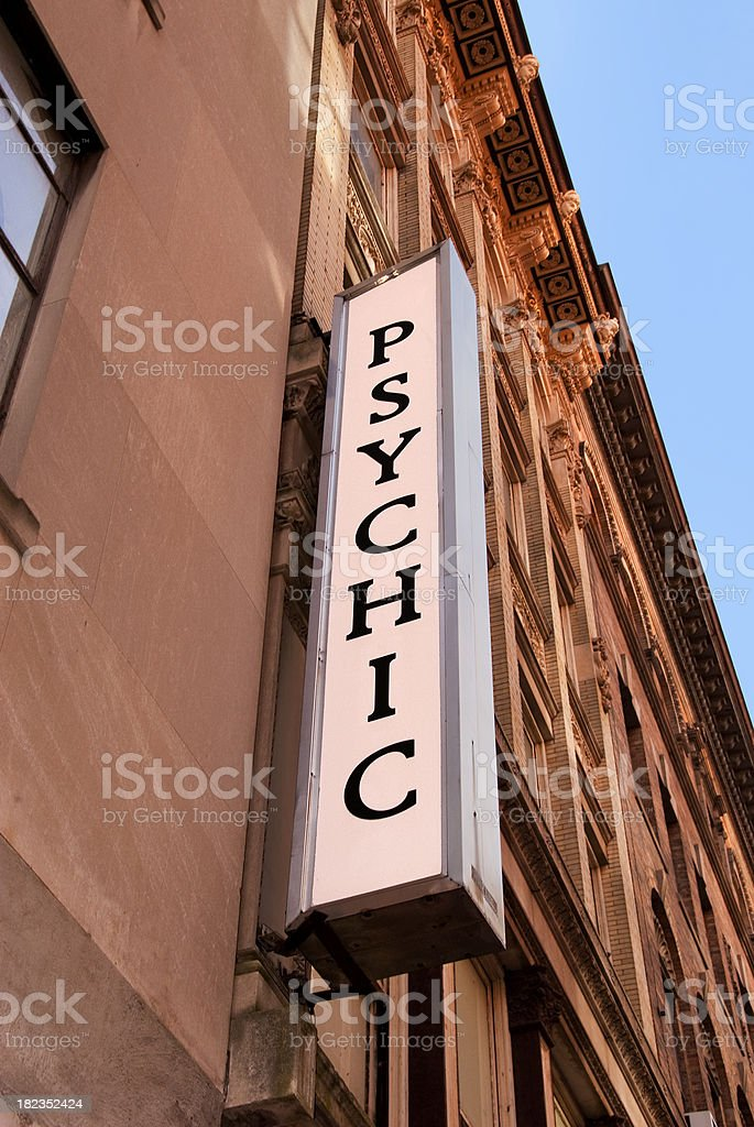 City Street Fortune Telling Sign for Psychic Services stock photo