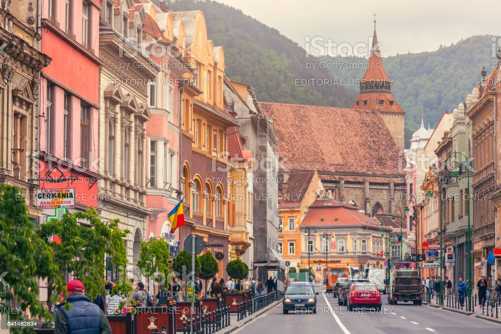 City street in the old town of Brasov stock photo