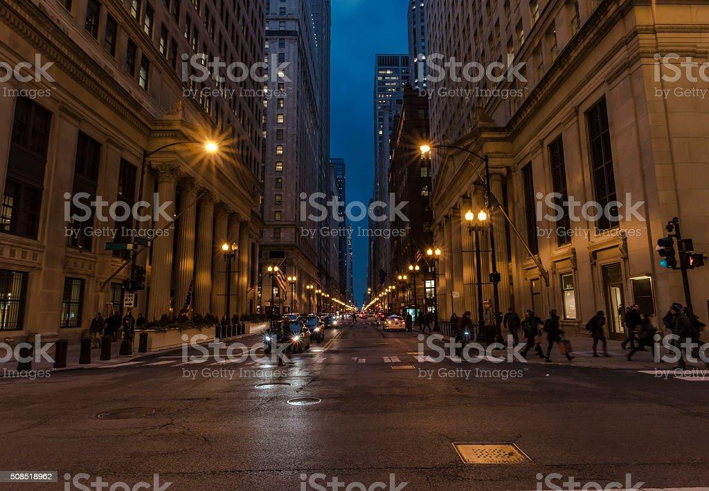 City Street Intersection at Dusk stock photo