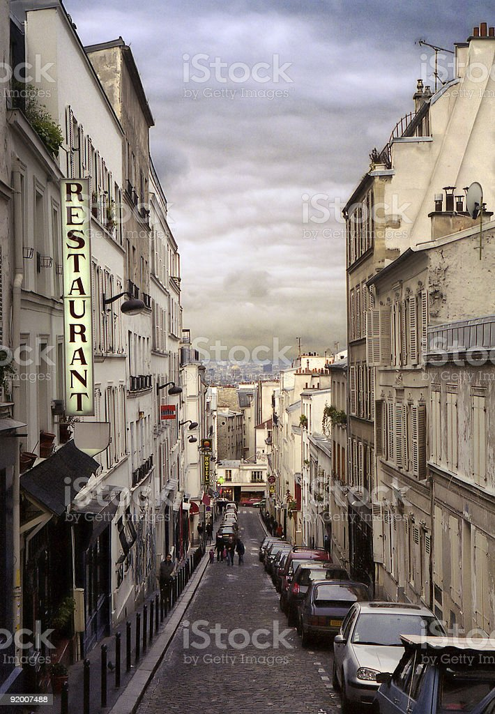 city street of monmartre in paris royalty-free stock photo