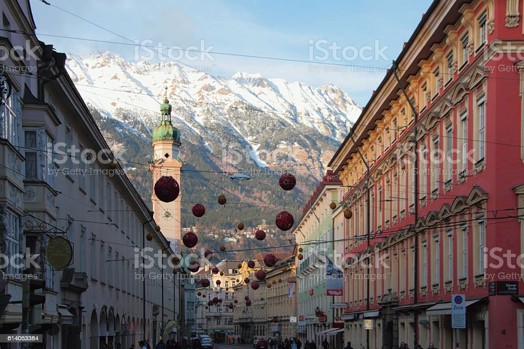 City street on New Year's holidays. Innsbruck, Austria stock photo