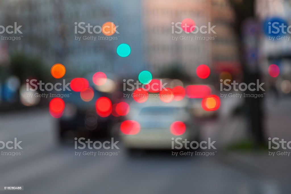 city street scene out of focus stock photo