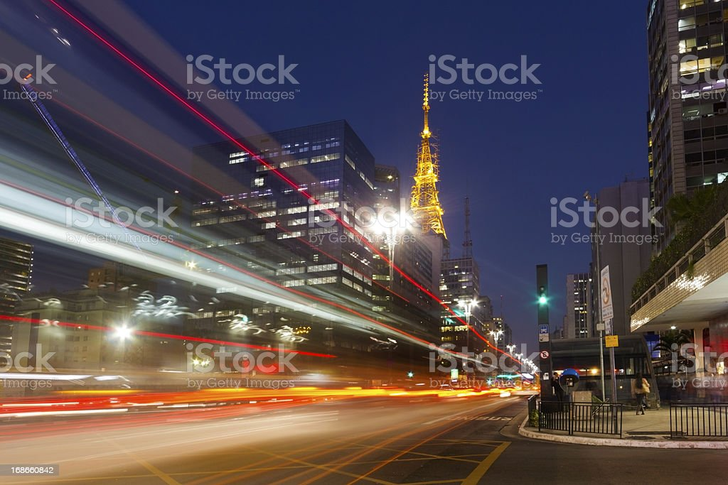 City street showing traffic flow lines with long exposure royalty-free stock photo