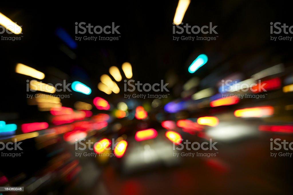 City Street Traffic Night Zoom royalty-free stock photo