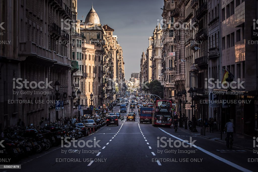 City street under the sunset stock photo