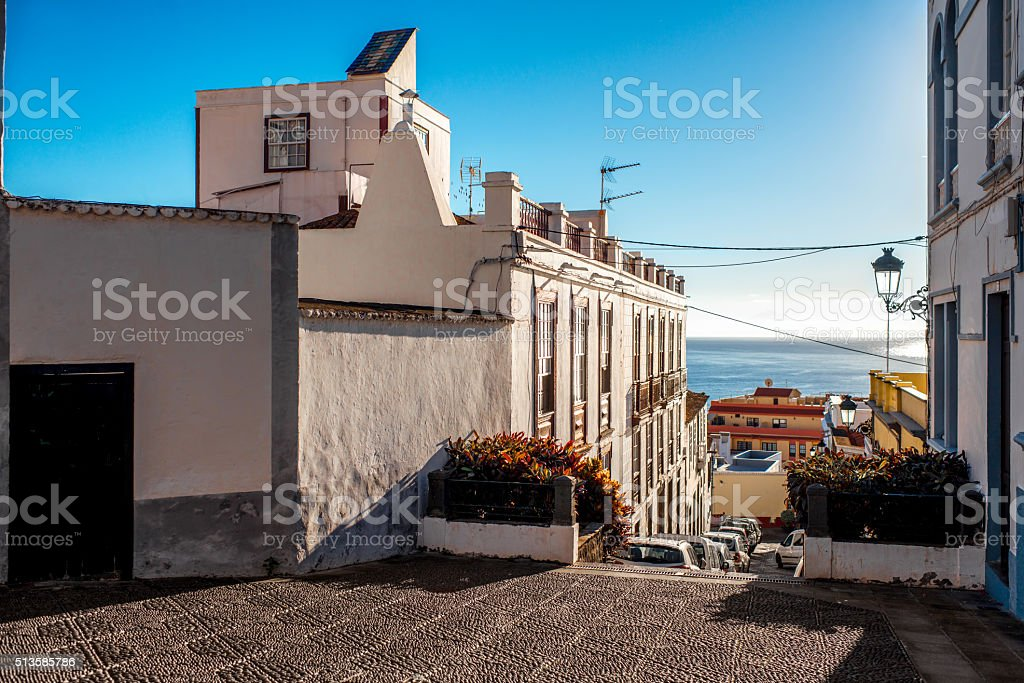 City street view in Santa Cruz de La Palma stock photo