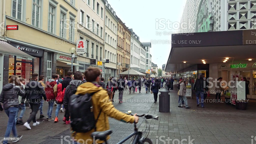 City street with shops and malls in Trier Germany stock photo