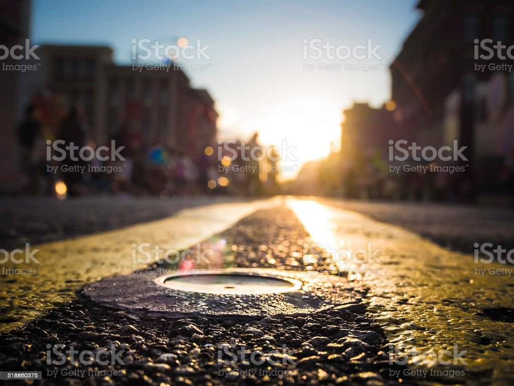 City street with sunset stock photo