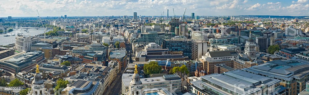 City streets and rooftops, London stock photo
