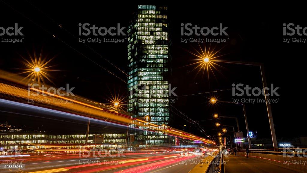 city streets night shot lights Hardbruecke PrimeTower stock photo