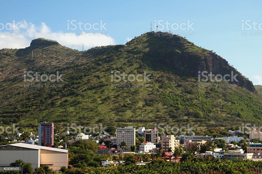 City suburb at mountain Moka foot. Port Louis, Mauritius stock photo