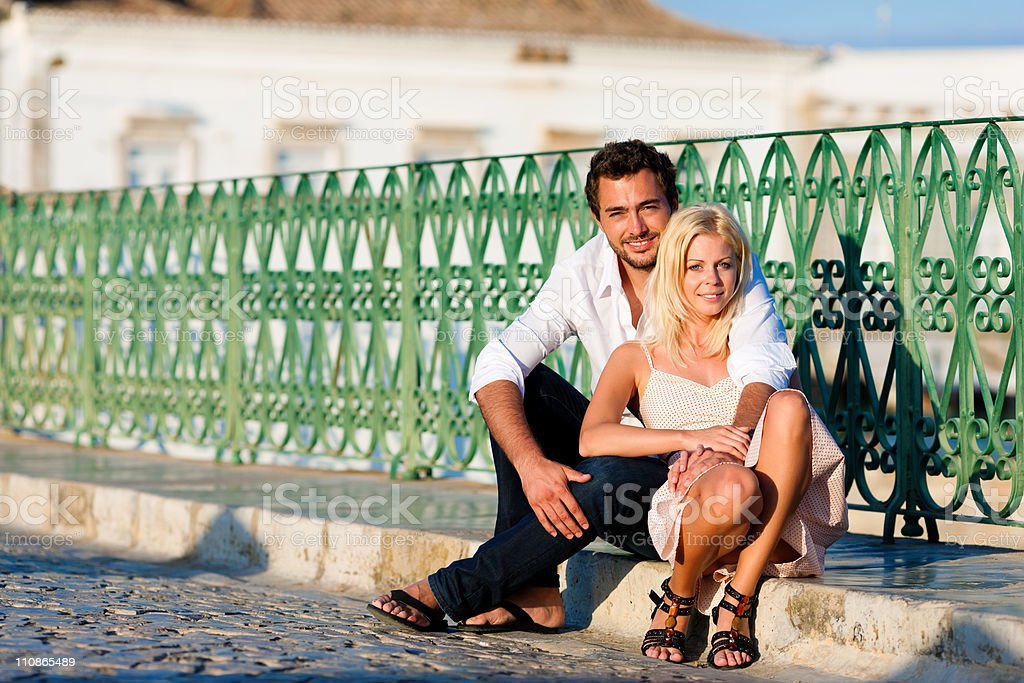 City tourism - couple in vacation on bridge royalty-free stock photo