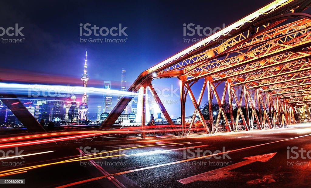 City traffic at night in shanghai stock photo