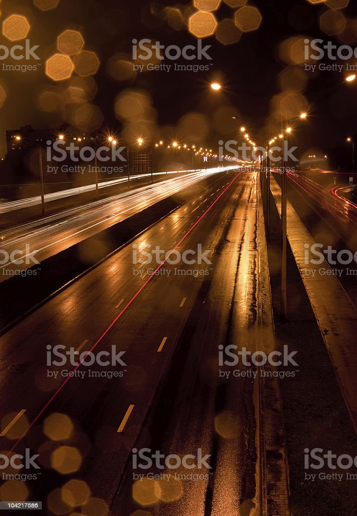 City traffic at rainy night royalty-free stock photo