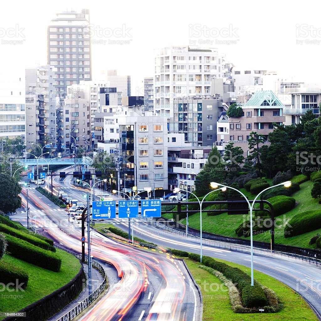 City traffic in motion royalty-free stock photo