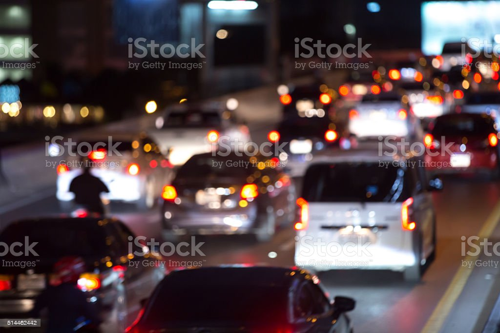 City traffic night blurred stock photo