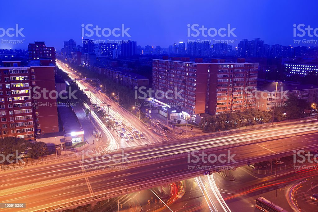 city traffic on the viaduct at night royalty-free stock photo