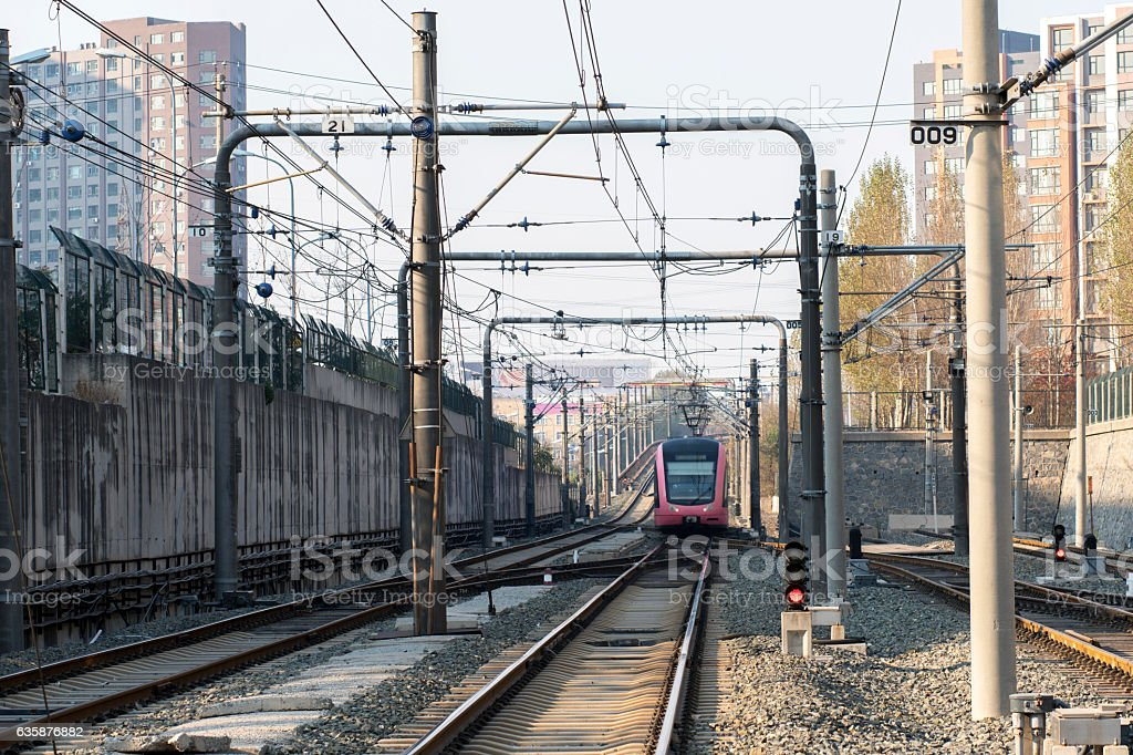 City tram and railway track stock photo