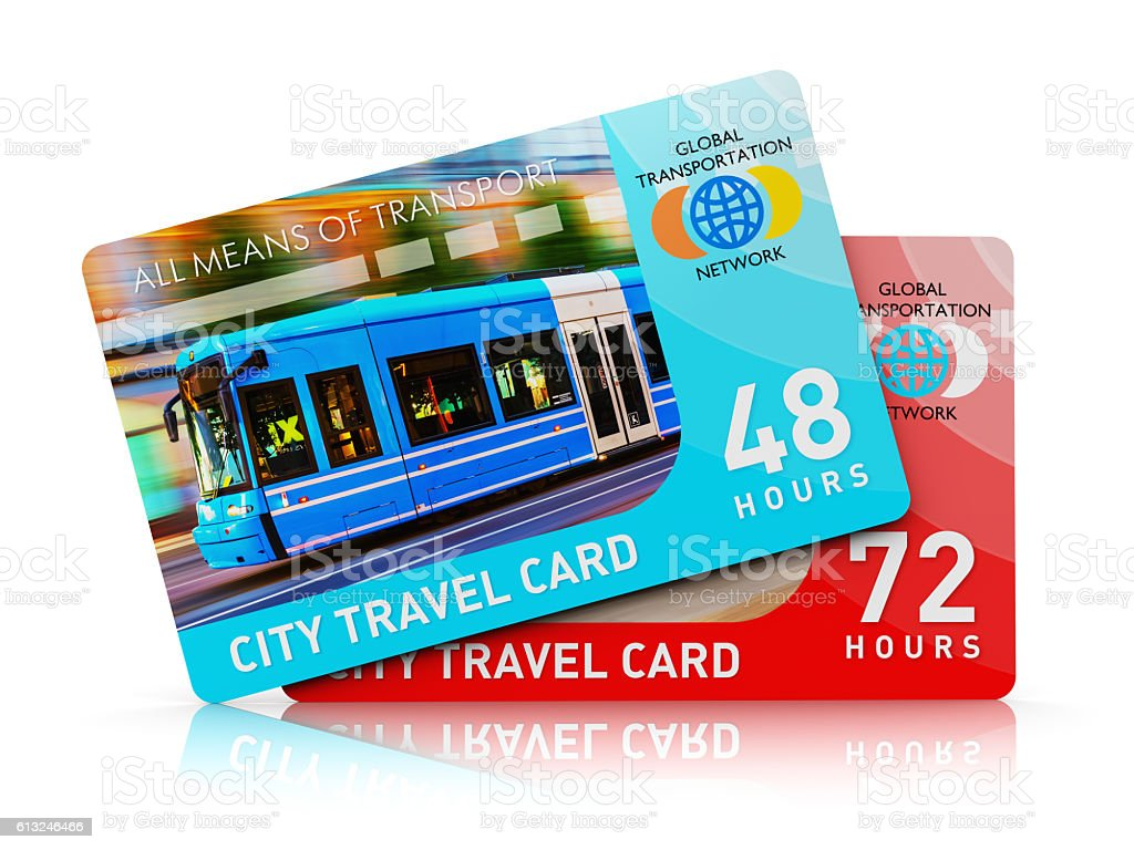 City transport travel ticket cards stock photo