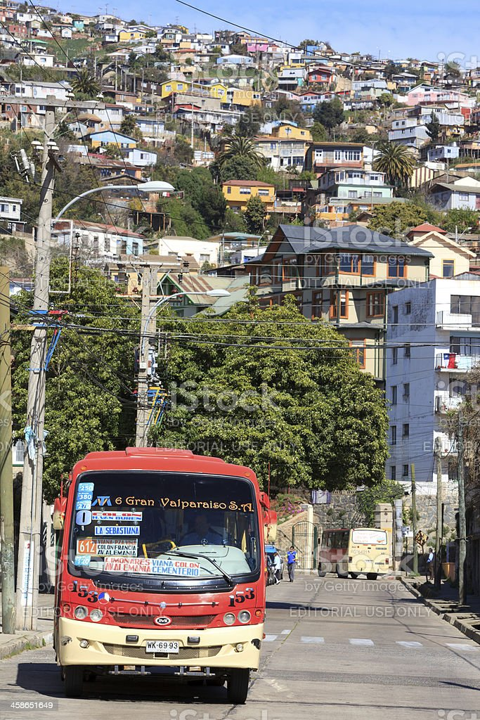 City transport, Valparaiso, Chile stock photo
