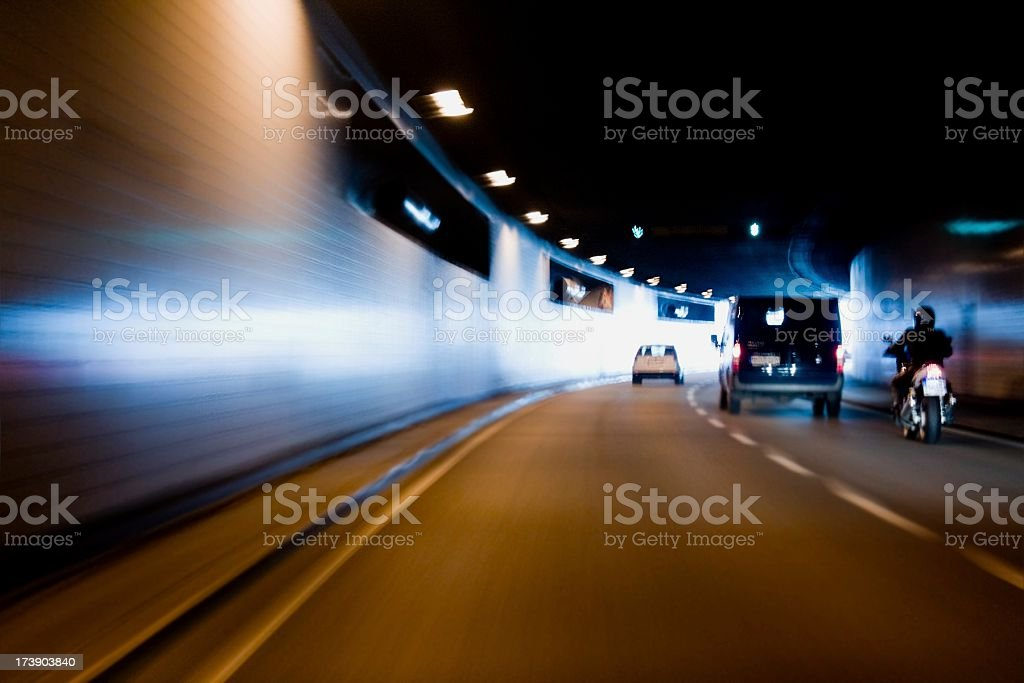 City tunnel with traffic stock photo