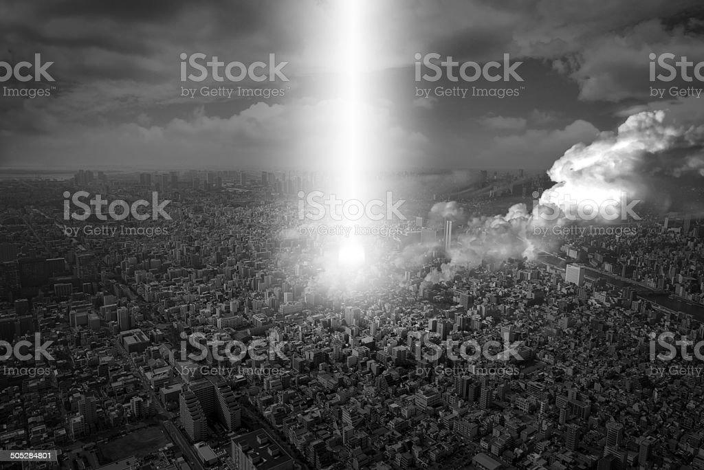city under attack stock photo