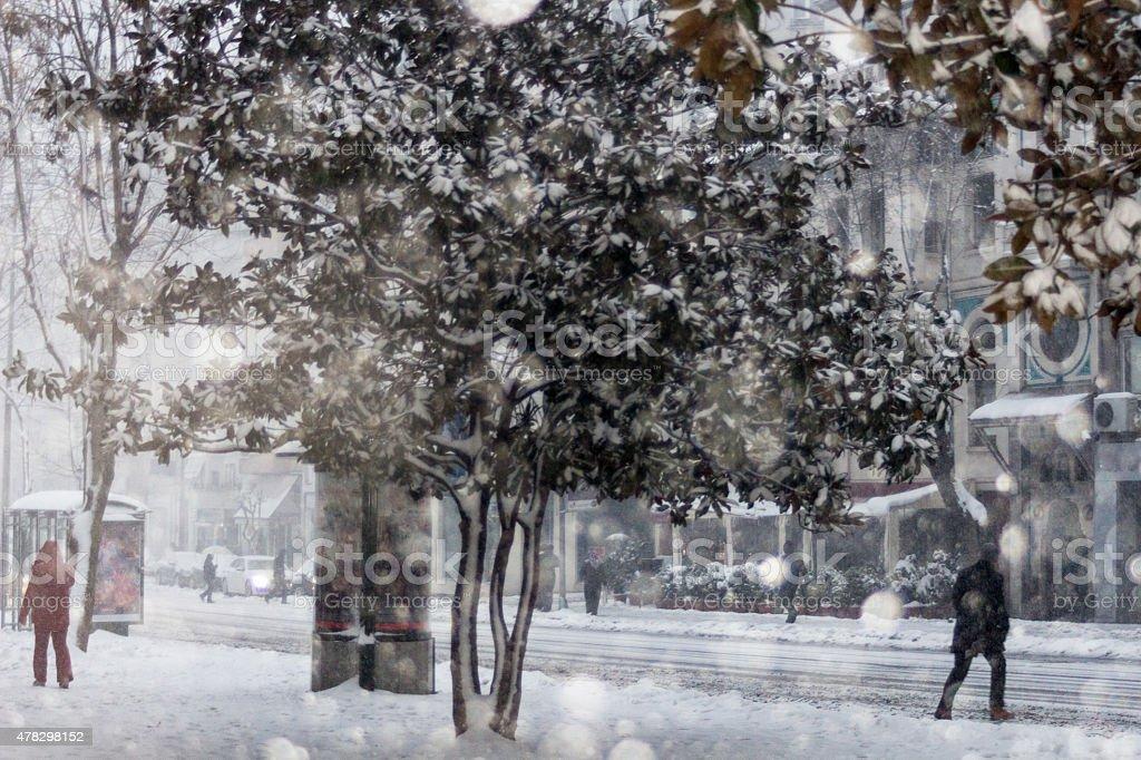 City Under Snow stock photo