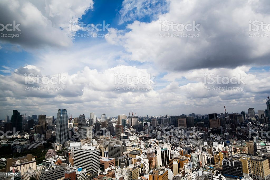 City under the cloud stock photo