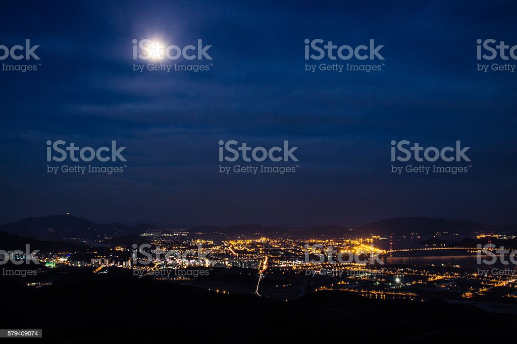 City Under the Moon royalty-free stock photo