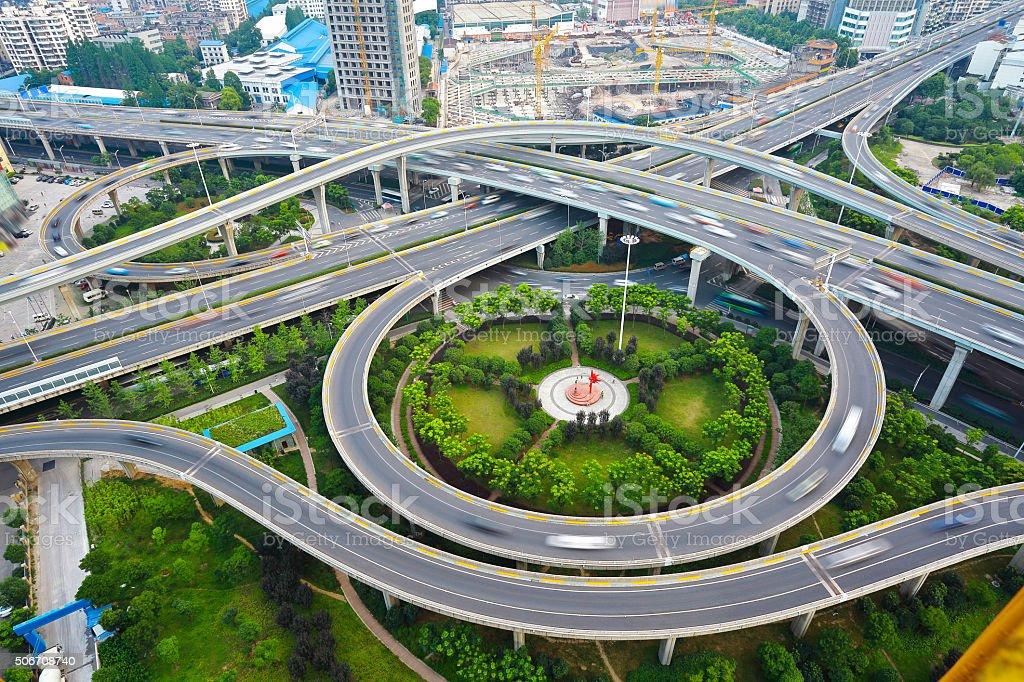 City viaduct bridge road landscape. stock photo