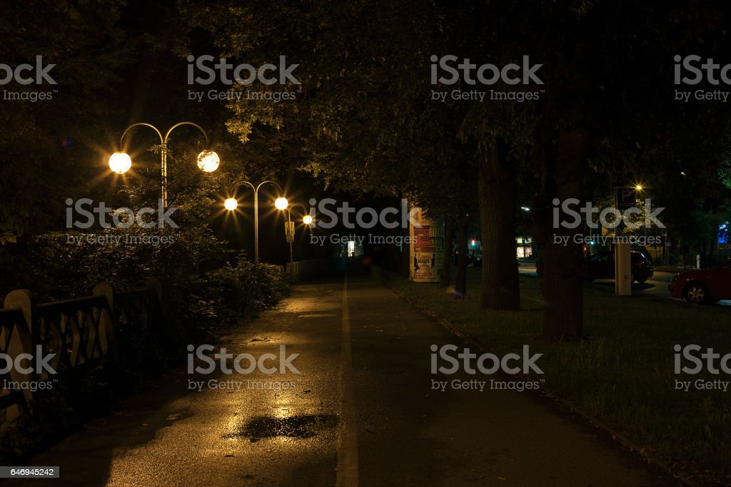 city view at night stock photo