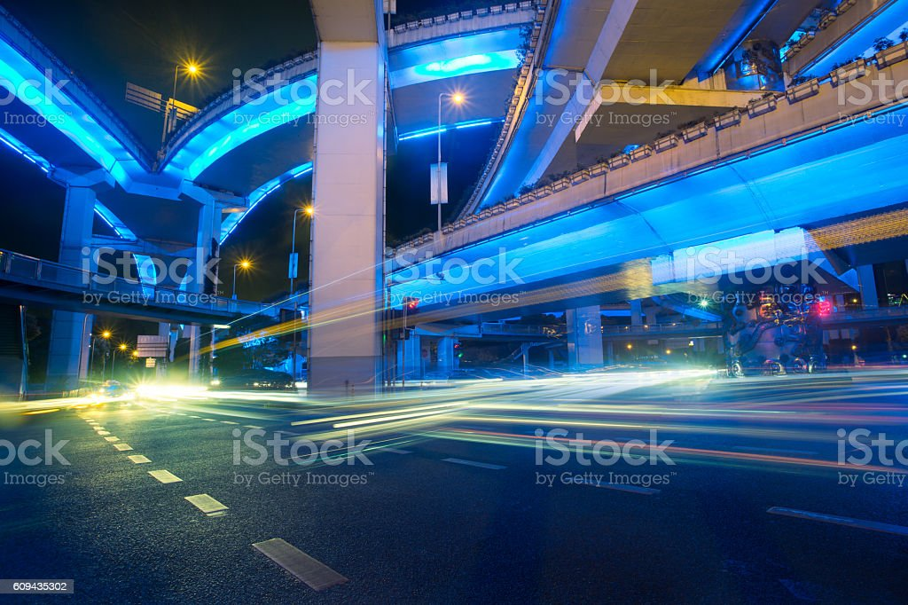 City view at night with traffic and trail light stock photo