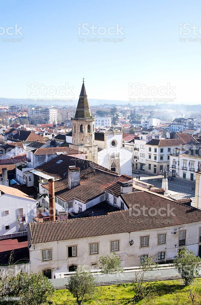 City view at the sunrise in Tomar (Portugal) stock photo
