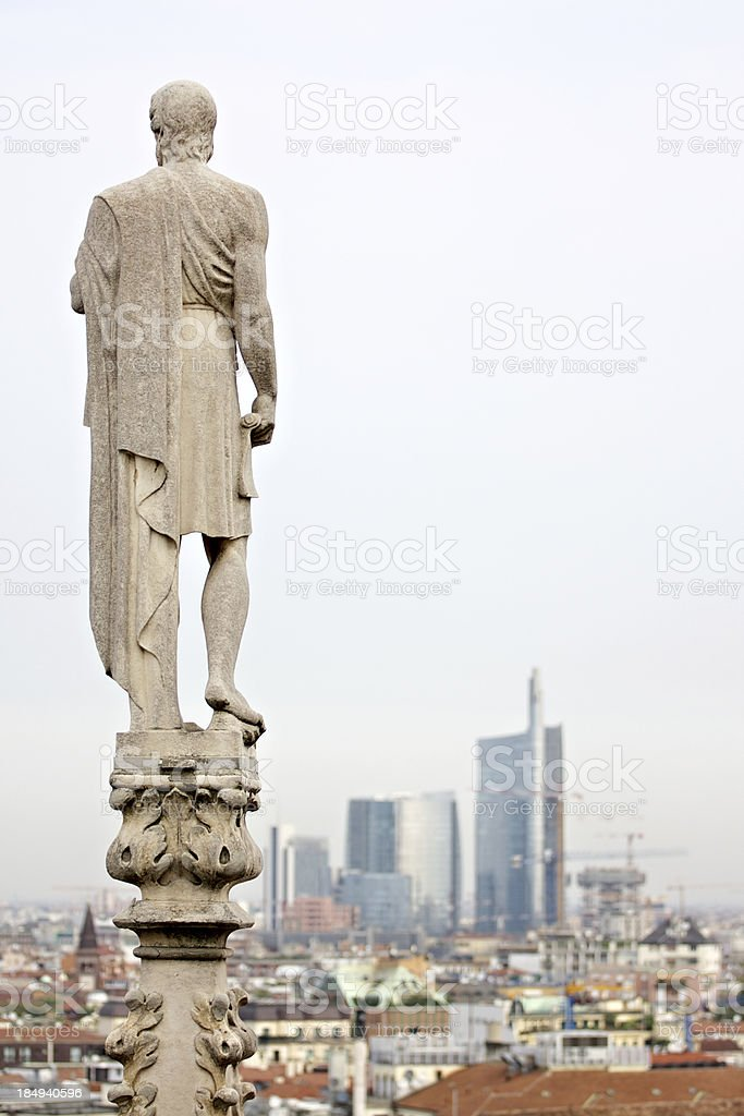 """City view from above Milan Cathedral (""""Duomo di Milano""""). Italy. stock photo"""