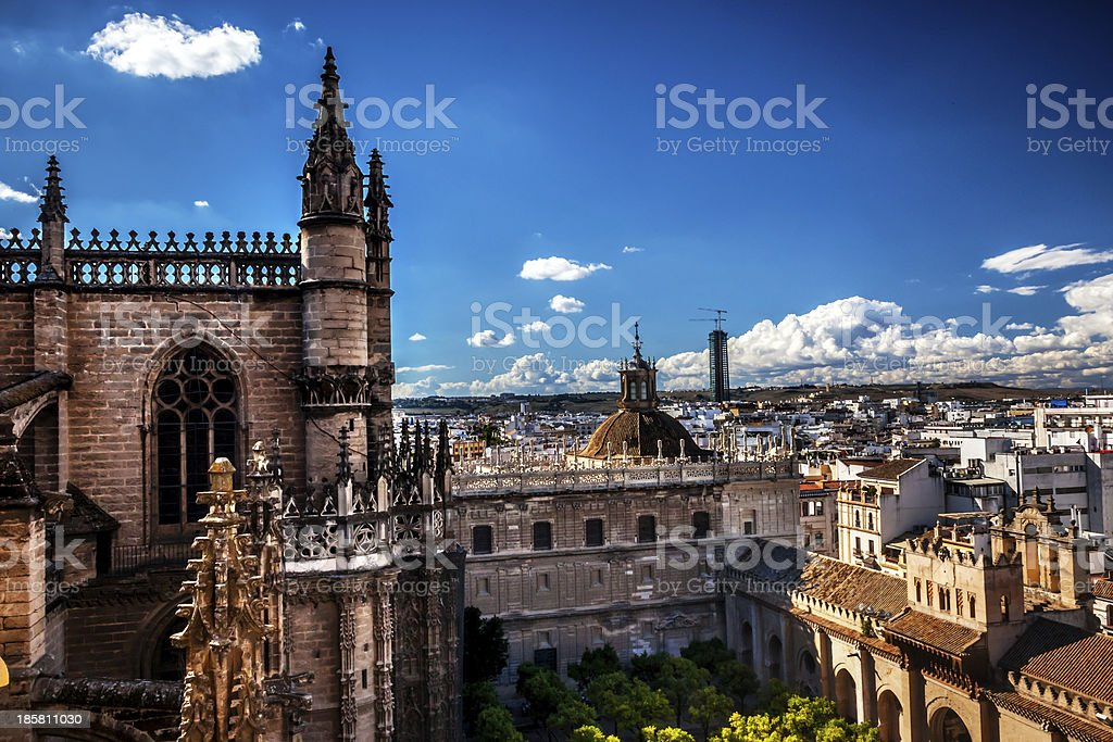 City View from Giralda Tower Seville Cathedral Spain royalty-free stock photo