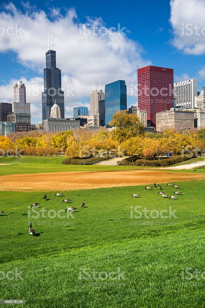 City view from Grant Park Chicago stock photo