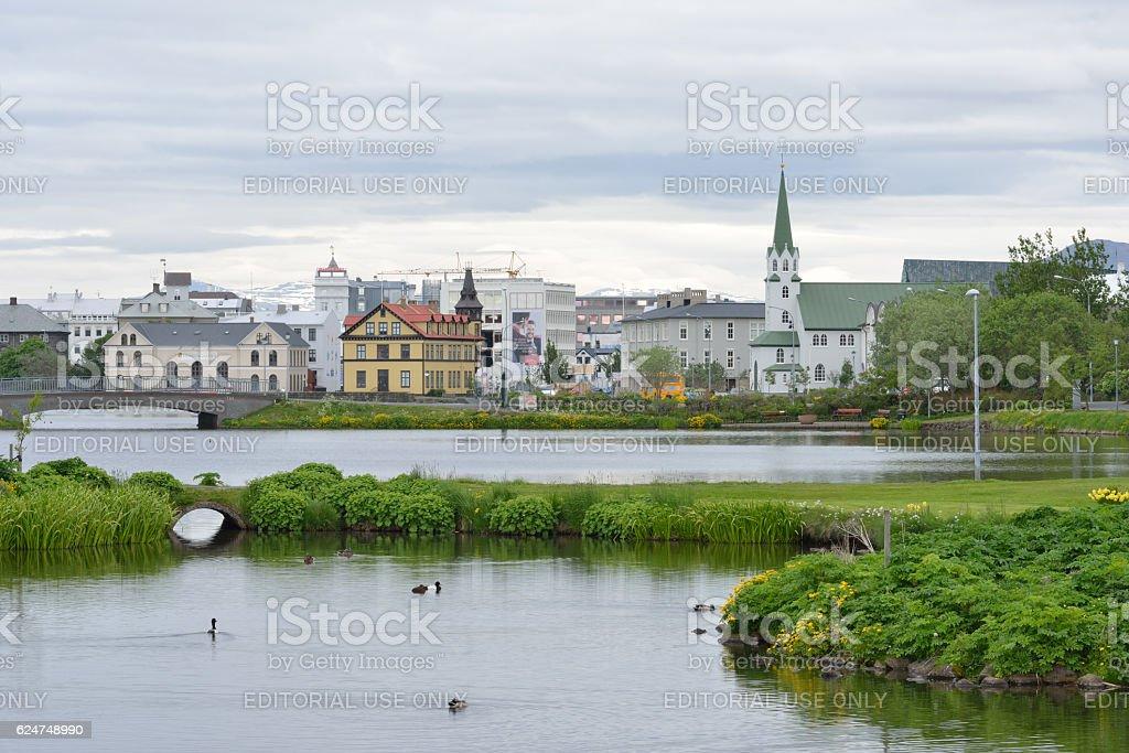 City View from Lake Tjornin in Reykjavik of Iceland stock photo