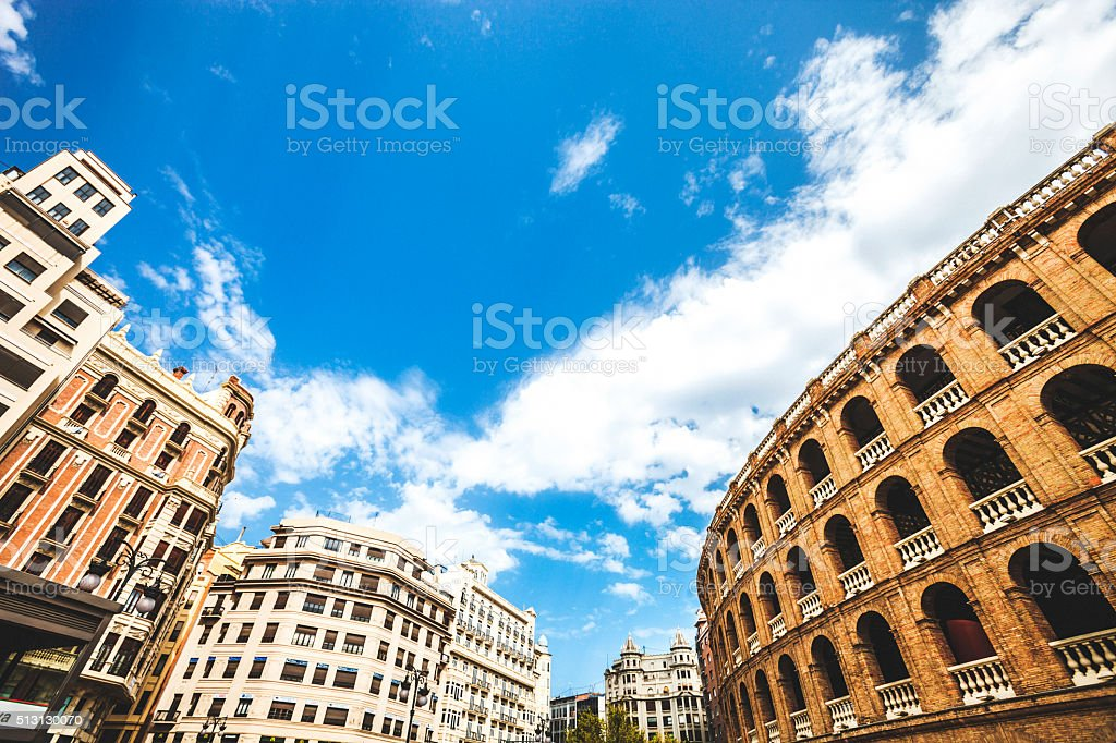 City view from Plaza de Toros. Valencia, Spain. stock photo