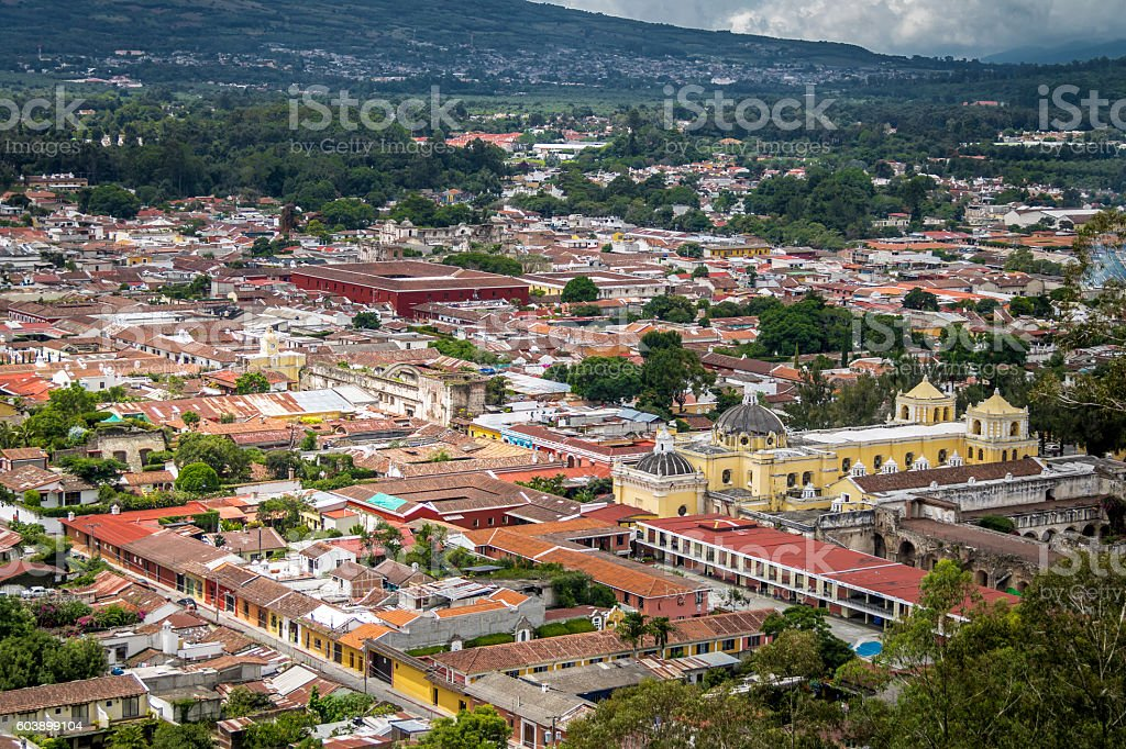 City view of Antigua Guatemala from Cerro de La Cruz stock photo
