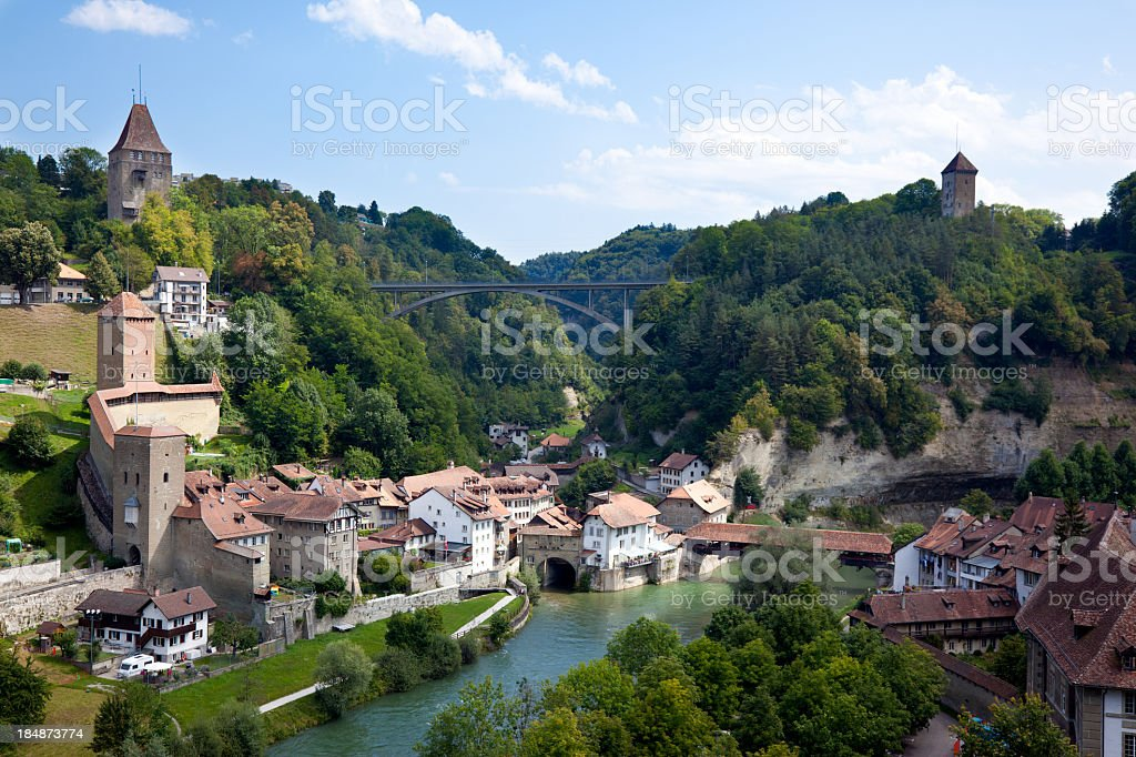 City view of Fribourg stock photo
