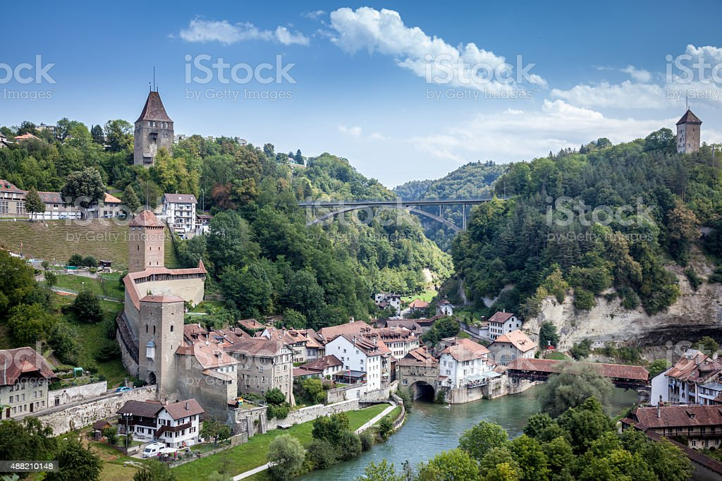 City view of Fribourg, Switzerland stock photo