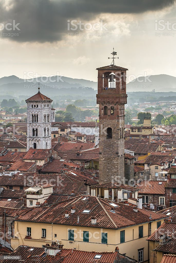 City view of Lucca from the Torre Guinigi, Italy stock photo