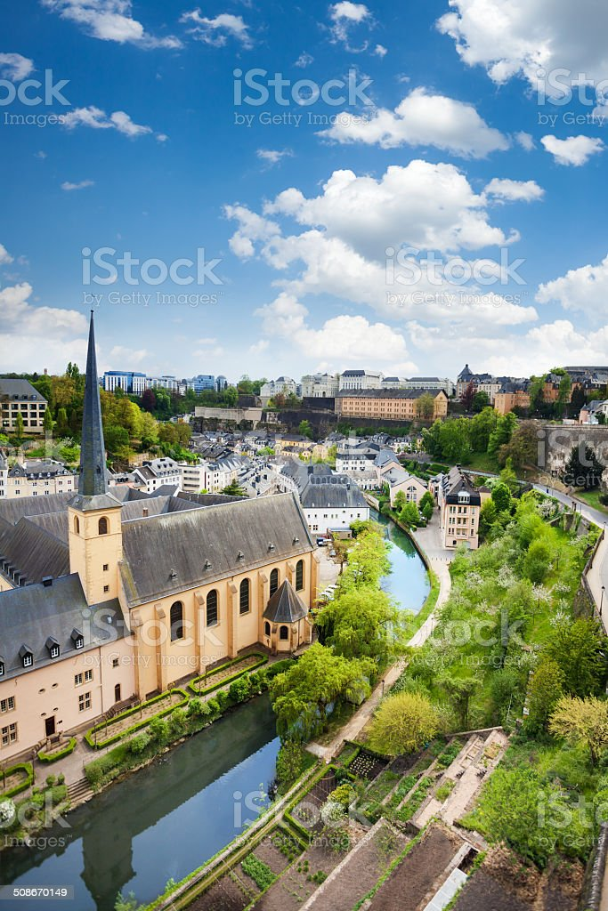 City view of Luxembourg with houses on Alzette stock photo