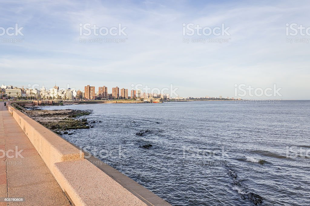 City view of Montevideo at sunset stock photo