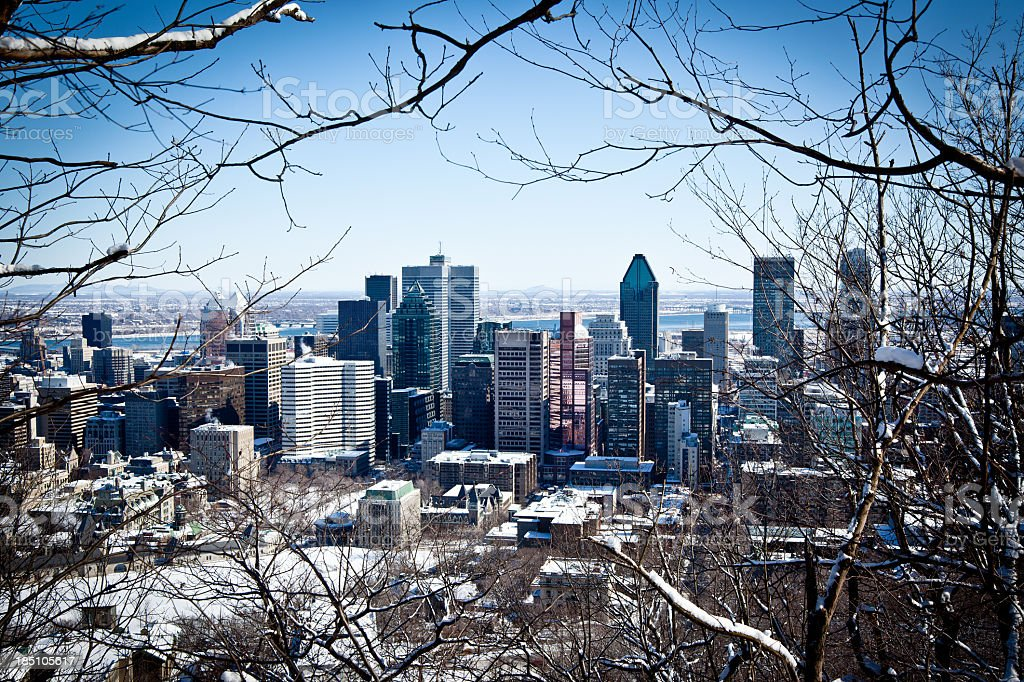 City view of Montreal in winter stock photo