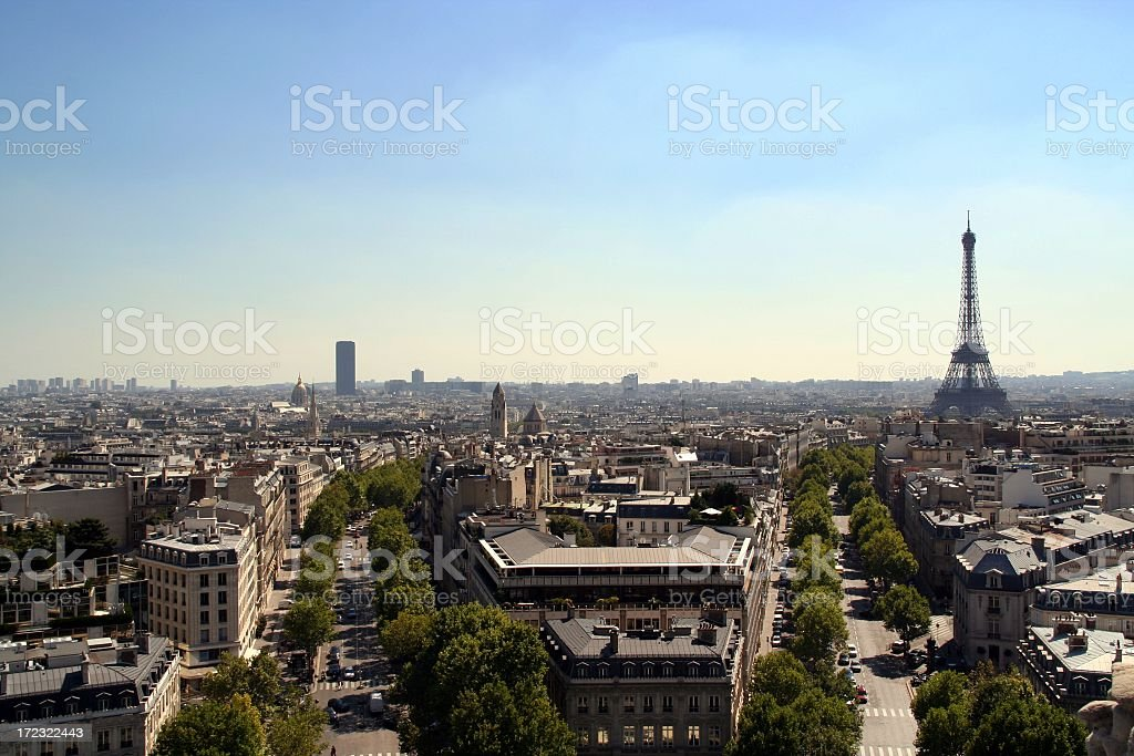 City View of Paris and Eiffel Tower on Summer Day stock photo