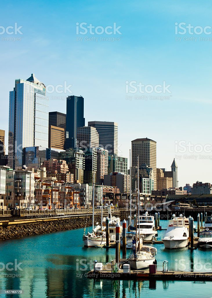 City view of the beautiful Seattle waterfront stock photo