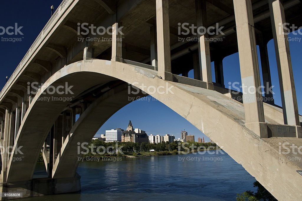 City view under the Victoria Bridge stock photo