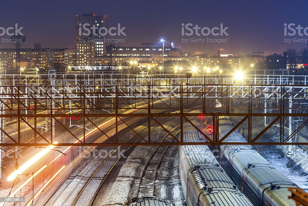 City view with railroad tracks royalty-free stock photo